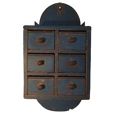 Early 19th Century BLUE Spice Chest - Fabulous