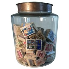 Early Old Glass Jar/Antique Stamp Collection