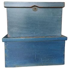 Pair of Early 19th Century Blue Boxes -