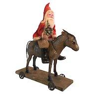 19th Century Santa on Donkey on Wheels
