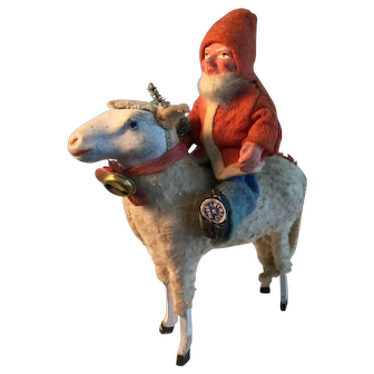 Great Offering - 19th Century German Sheep with Early German Santa