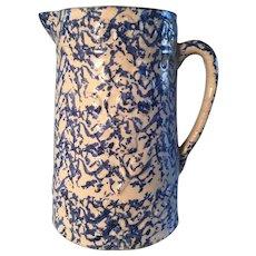 19th Century Blue Spongeware Embossed Pitcher