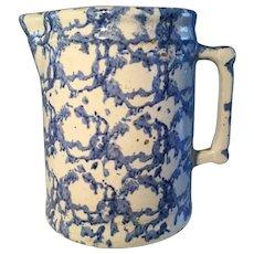 19th Century  Blue Spongeware Pitcher