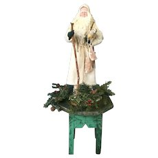 Fabulous Large Santa on 19th Century Green Stand