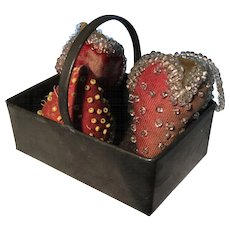 19th Century Teeny Tin Basket Filled with Antique Beaded Strawberries