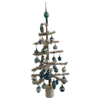 19th Century White Feather Tree + Best, Old Blue Ornaments