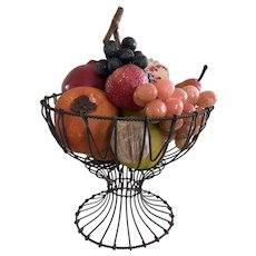 19th Century Wire Compote/Filled W/Fabulous, Some Rare Stone Fruit