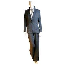 Authentic Vintage Hermes Pinstriped Silk Pant Suit Sz 36 - Red Tag Sale Item
