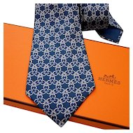 Authentic Pre-owned Hermes Silk Tie 7515 IA Blues