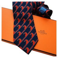 Authentic Vintage Hermes Silk Tie 875 PA Early Collection Navy Red Horses