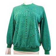 Vintage Hermes Suede Womens Top Green with Cut Outs with Box