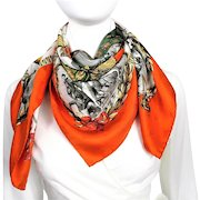 Authentic Vintage Hermes Silk Jacquard Scarf Napoleon Red Green Original Issue