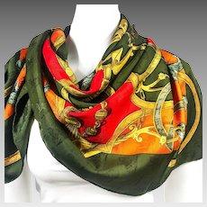 Authentic Vintage Hermes Silk Jacquard Scarf L'Instruction du Roy