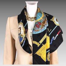 Authentic Hermes Silk Jacquard Scarf Le Geographe by Sandra Laroche 1992 RARE