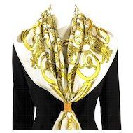 Authentic Vintage Hermes Silk Scarf Les Tuileries Cream