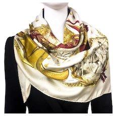 Authentic Vintage Hermes Silk Jacquard Scarf Napoleon RARE Colorway