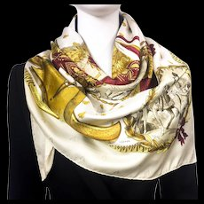 Authentic Vintage Hermes Silk Jacquard Scarf Napoleon RARE Colorway