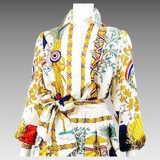 VTG Hermes Republique Francaise Liberte Egalite Fraternite - 1789 Silk Blouse and Skirt Set with Sash