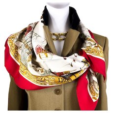 Authentic Vintage Hermes Silk Scarf L'Hiver Early Issue Rare