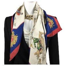 Hermes Silk Scarf Venerie des Princes Jacquard Vintage Very RARE