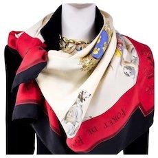 Authentic Vintage Hermes Silk Scarf Grande Venerie Royale 1956 Charles Hallo