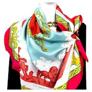 Hermes Silk Scarf Courbettes et Cabrioles (1654) Bright Pink
