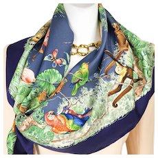 Hermes Silk Scarf Equateur 90cm Twill Blue