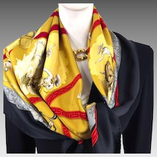 Hermes Silk Scarf Charreada with Black Border