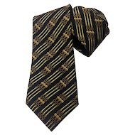 Hermes Silk Necktie 695 OA Vintage Black