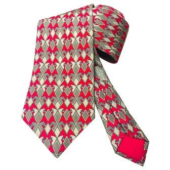Hermes Silk Necktie 7210 UA Red