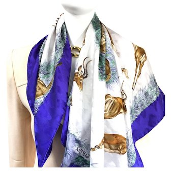 Kenya Hermes Silk Jacquard Carre by Robert Dallet