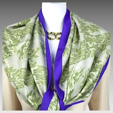 Hermes Reversible Silk Shawl with Hawk and Oak Leaves RARE