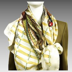 Faisan Hermes Silk Scarf by Henri de Linares Very Rare