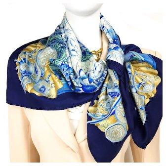 Azulejos Hermes Silk Scarf Rare Blue CW