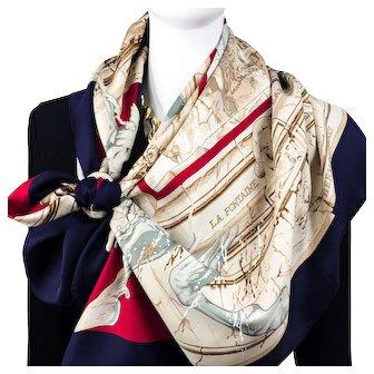 image 0 image 1 image 2 image 3 image 4 image 5 image 6 image 7 image 8 🔎 zoom Authentic Vintage Hermes Silk Scarf La Fontaine de Bartholdi Rare Navy Colorway