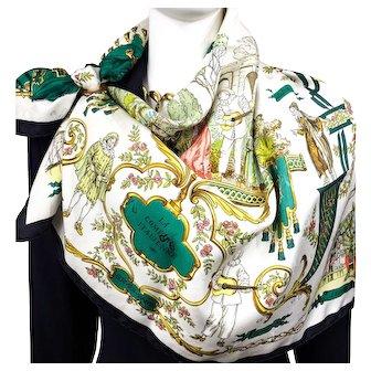 Vintage Hermes Jacquard Silk Scarf La Comedie Italienne Collector - RARE GRAIL