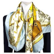 Authentic Vintage Hermes Silk Jacquard Scarf Napoleon RARE Early Issu