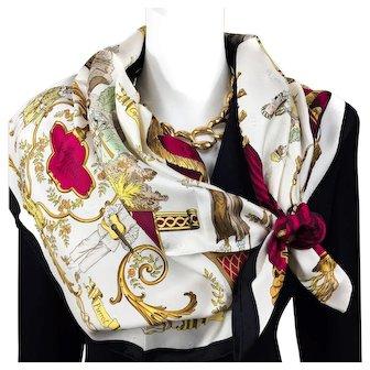 Vintage Hermes Jacquard Silk Scarf La Comedie Italienne Collector - UNWORN