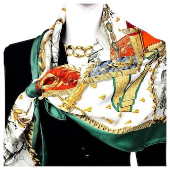 Authentic Vintage Hermes Silk Jacquard Scarf Napoleon RARE Early Issue