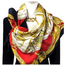 Authentic VTG Hermes Silk Scarf Etriers Black and Red