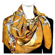 L'Instruction du Roy Authentic Vintage Hermes Silk Jacquard Scarf