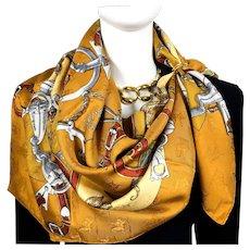 L'Instruction du Roy Authentic Vintage Hermes Silk Jacquard Scarf