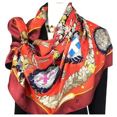 Emblemes de l'Europe Hermes Silk Jacquard Scarf Red
