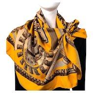 Huaca Piru Hermes Silk Twill Scarf Orange & Brown