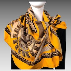 Huaca Piru Hermes Silk Twill Scarf Orange & Brown