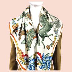 Les Girouettes Hermes Silk Scarf