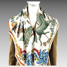 Les Girouettes Hermes Silk Scarf