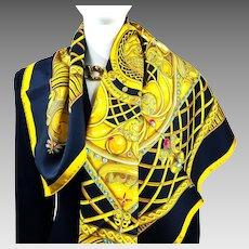 Monnaies et Symboles des Parisii Hermes Silk Scarf in RARE Black CW