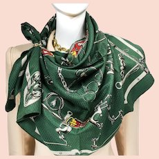 Mors et Gourmettes Hermes silk Jacquard scarf (100% silk) - RARE Vintage
