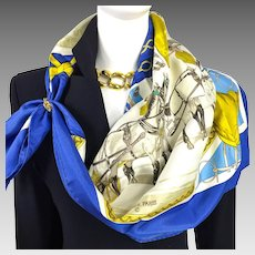 On Epsom Downs 1836 Herms Silk Scarf RARE